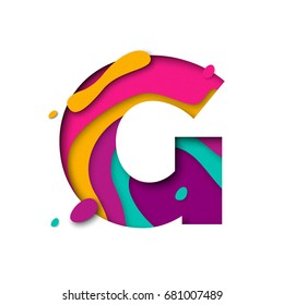 Paper cut letter G. Realistic 3D multi layers papercut effect isolated on white background. Colorful character of alphabet letter font. Decoration origami element for birthday or greeting design