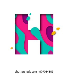 Paper cut letter H. Realistic 3D multi layers papercut effect isolated on white background. Colorful character of alphabet letter font. Decoration origami element for birthday or greeting design