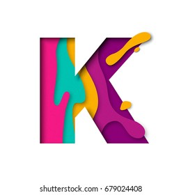 Paper cut letter K. Realistic 3D multi layers papercut effect isolated on white background. Colorful character of alphabet letter font. Decoration origami element for birthday or greeting design.