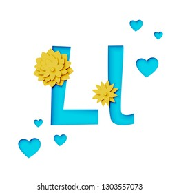 Paper cut letter L with flowers, realistic 3d vector design