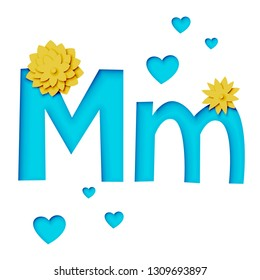 Paper cut letter M with flowers, realistic 3d vector design