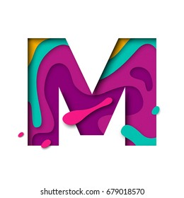 Paper cut letter M. Realistic 3D multi layers papercut effect isolated on white background. Colorful character of alphabet letter font. Decoration origami element for birthday or greeting design.