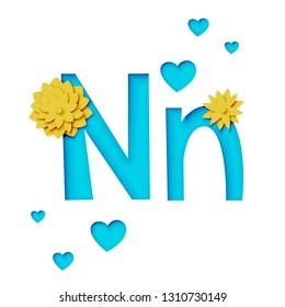 Paper cut letter N with flowers, realistic 3d vector design