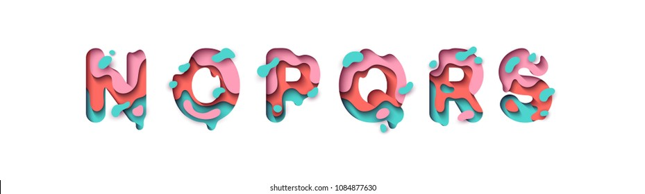 Paper cut letter N, O, P, Q, R, S. Design 3d sign isolated on white background. Alphabet font of melting liquid.