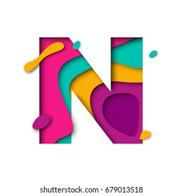 Paper cut letter N. Realistic 3D multi layers papercut effect isolated on white background. Colorful character of alphabet letter font. Decoration origami element for birthday or greeting design.