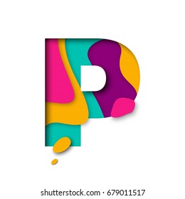 Paper cut letter P. Realistic 3D multi layers papercut effect isolated on white background. Colorful character of alphabet letter font. Decoration origami element for birthday or greeting design.