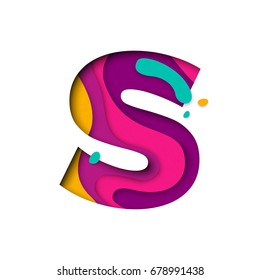 Paper cut letter S. Realistic 3D multi layers papercut effect isolated on white background. Colorful character of alphabet letter font. Decoration origami element for birthday or greeting design