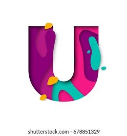 Paper cut letter U. Realistic 3D multi layers papercut effect isolated on white background. Colorful character of alphabet letter font. Decoration origami element for birthday or greeting design
