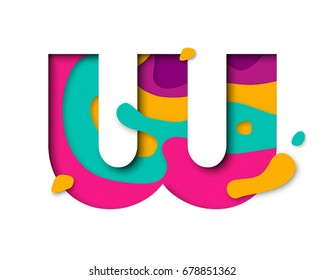 Paper cut letter W. Realistic 3D multi layers papercut effect isolated on white background. Colorful character of alphabet letter font. Decoration origami element for birthday or greeting design