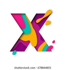 Paper cut letter X. Realistic 3D multi layers papercut effect isolated on white background. Colorful character of alphabet letter font. Decoration origami element for birthday or greeting design