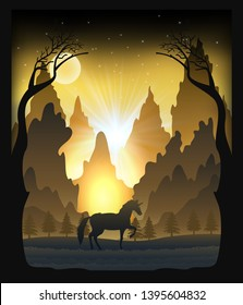 Paper cut light and shadow box design of unicorn in the forest, silhouette paper sculptures lamp as  concept. vector illustration.