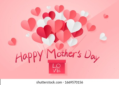 Paper cut of love in shape of heart for Happy Mother's Day,