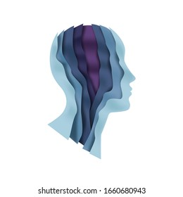 Paper cut man head illustration on isolated white background. Colorful unisex person face profile with layered 3D papercut waves for psychology therapy, creative mind or social business concept.