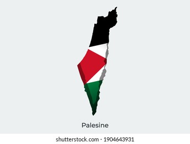 Paper cut map of national flag vector illustration. Creative and minimal illustration. Scratches and ripped. For wallpaper, poster, banner, backdrop, brochure, cover background. Eps 10. Palestine Fla
