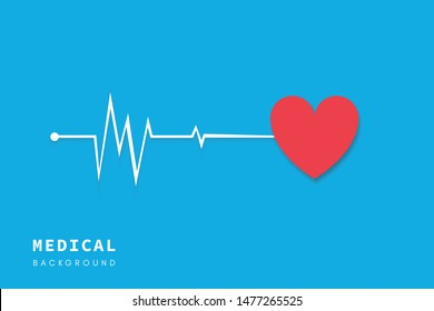 Paper cut medical health care background with white cardiogram lines