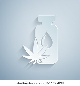 Paper cut Medical marijuana or cannabis leaf olive oil drop icon isolated on grey background. Cannabis extract. Hemp symbol. Paper art style. Vector Illustration