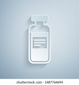 Paper cut Medical vial, ampoule, bottle icon isolated on grey background. Vaccination, injection, vaccine healthcare concept. Paper art style. Vector Illustration