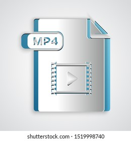 Paper cut MP4 file document. Download mp4 button icon isolated on grey background. MP4 file symbol. Paper art style. Vector Illustration
