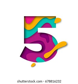 Paper cut number Five letter. Realistic 3D multi layers papercut effect isolated on white background. Figure of alphabet letter font. Decoration element for birthday or wedding greeting design