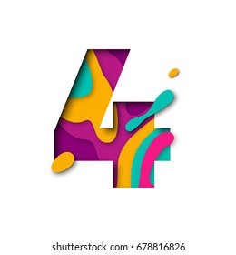 Paper cut number Four letter. Realistic 3D multi layers papercut effect isolated on white background. Figure of alphabet letter font. Decoration element for birthday or wedding greeting design