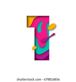 Paper cut number One letter. Realistic 3D multi layers papercut effect isolated on white background. Figure of alphabet letter font. Decoration element for birthday or wedding greeting design