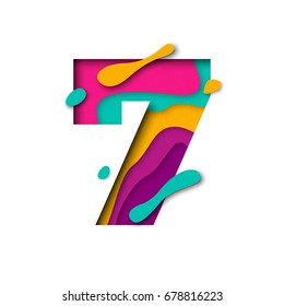 Paper cut number Seven letter. Realistic 3D multi layers papercut effect isolated on white background. Figure of alphabet letter font. Decoration element for birthday or wedding greeting design
