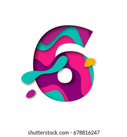 Paper cut number Six letter. Realistic 3D multi layers papercut effect isolated on white background. Figure of alphabet letter font. Decoration element for birthday or wedding greeting design