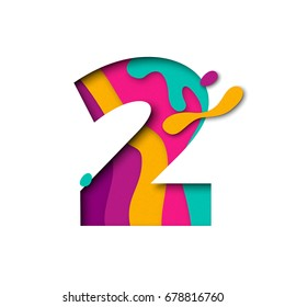 Paper cut number Two letter. Realistic 3D multi layers papercut effect isolated on white background. Figure of alphabet letter font. Decoration element for birthday or wedding greeting design