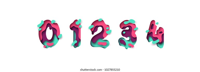 Paper cut number zero, one, two, three, four, figure 0, 1, 2, 3, 4. Design 3d sign isolated on white background. Alphabet font of melting liquid.