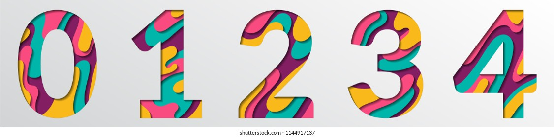 Paper cut numbers. Blue pink 3D multi layers papercut effect isolated figures of alphabet letter paper cut font. 0 1 2 3 4 numbers for birthday or wedding anniversary. Zero, one, two, three, four.