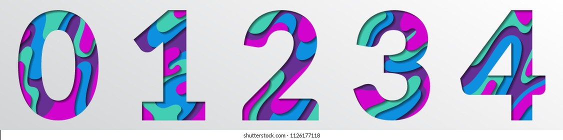 Paper cut numbers. Blue violet 3D multi layers papercut effect isolated figures of alphabet letter paper cut font. 0 1 2 3 4 numbers for birthday or wedding anniversary. Zero, one, two, three, four.