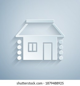 Paper cut Old Ukrainian house hut icon isolated on grey background. Traditional village house. Paper art style. Vector.