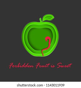 Paper Cut Out Apple with Snake Symbolizing Evil Temptation. Green Apple and Bright Red Snake on the Dark Background. Concept Vector illustration. Vector EPS 10