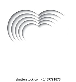 Paper cut out background with 3d effect, heart shape in black and white, vector illustration