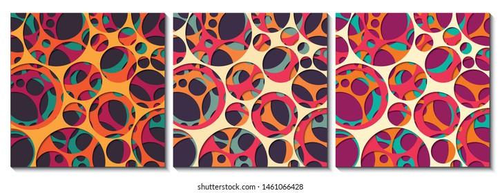 Paper cut out background with 3d effect, circles in vibrant colors, vector illustration