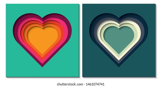 Paper cut out background with 3d effect, heart shape in vibrant colors, vector illustration