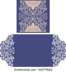 Paper cut out card. Laser cut pattern for invitation card for wedding. Paper cutouts. Wedding invitation template.