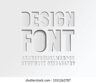 Paper cut out hole font in vector format