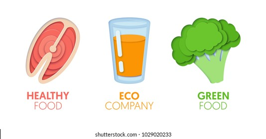 Paper Cut Out Logo Template Set with Eco Green Food. Origami Healthy Eating Symbols for Branding, Brochure, Identity. Vector illustration