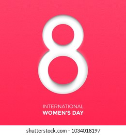 Paper cut out number Eight for 8 March International Women's Day card. Happy Womens Day vector paper cut out number Eight on pink red background. Trendy 3D mothers day greeting card template