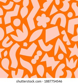 Paper cut out, pink on orange, fun abstract geometric shapes, vector seamless pattern