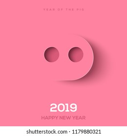 Paper cut pig nose for 2019 Chinese New Year. Minimal creative idea for greeting card and calendar design. Vector illustration.