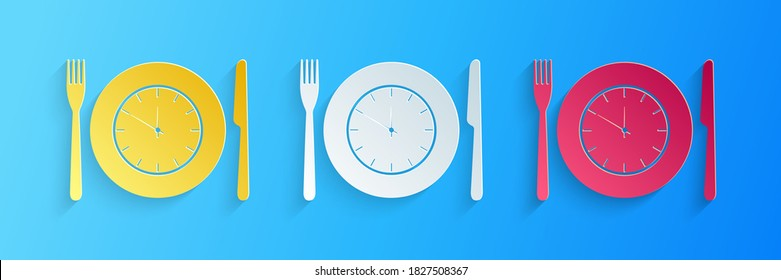 Paper cut Plate with clock, fork and knife icon isolated on blue background. Lunch time. Eating, nutrition regime, meal time and diet concept. Paper art style. Vector.
