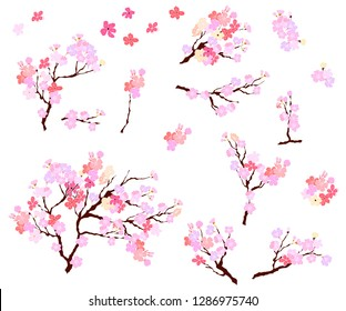 Paper cut Plum flower and Sakura flower vector set, Beautiful line art Peach blossom isolate on white background