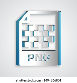 Paper cut PNG file document. Download png button icon isolated on grey background. PNG file symbol. Paper art style. Vector Illustration
