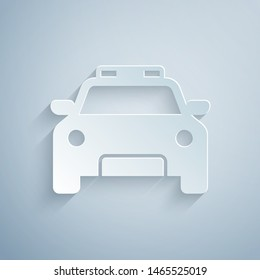 Paper cut Police car and police flasher icon isolated on grey background. Emergency flashing siren. Paper art style. Vector Illustration