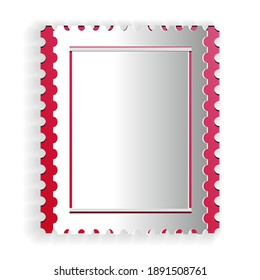Paper cut Postal stamp icon isolated on white background. Paper art style. Vector.