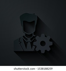 Paper cut Profile settings icon isolated on black background. User setting icon. Profile Avatar with cogwheel. Account icon. Male person silhouette. Paper art style. Vector Illustration