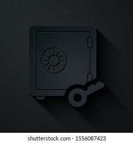 Paper cut Proof of stake icon isolated on black background. Cryptocurrency economy and finance collection. Paper art style. Vector Illustration