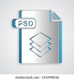 Paper cut PSD file document. Download psd button icon isolated on grey background. PSD file symbol. Paper art style. Vector Illustration
